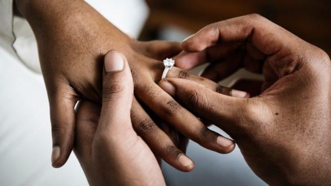 Applying wedding ring